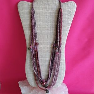 Boho Purple & Red Bead & Temple Bell Necklace